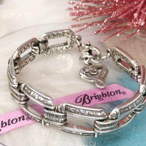 Brighton Open Rectangle Link Silver Heart Bracelet